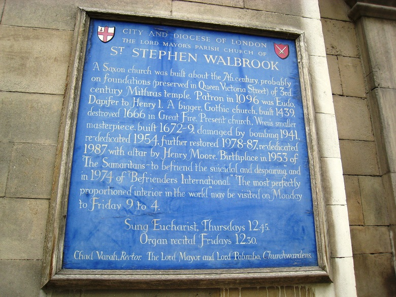 St Stephen Walbrook plaque 780